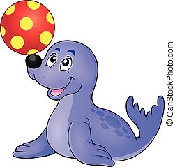 Seal playing with ball theme 1 - eps10 vector illustration.