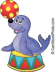 Seal playing with ball theme 2