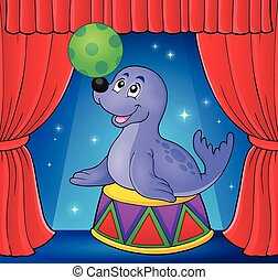 Seal playing with ball theme 3