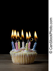 Birthday Cupcake with Lit Candles