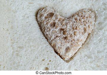 Brown Bread Heart Inside White Bread
