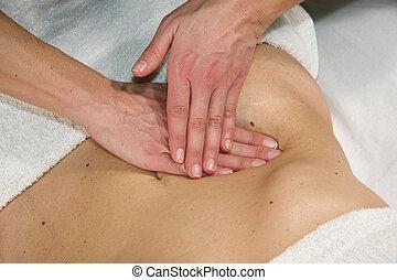 abdominal massage - appendix region - a closeup of a natural...