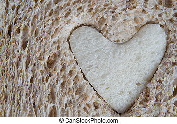 Close up of Brown Bread with White Heart - Close up of brown...