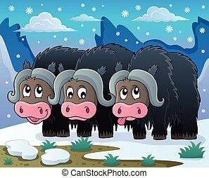 Three muskoxen theme image 2 - eps10 vector illustration.