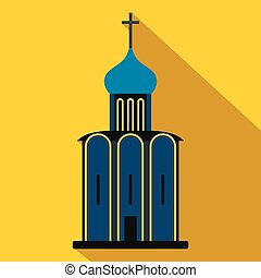 Orthodox church flat icon. Colored symbol with shadow...