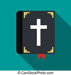 Bible single flat icon. Funeral symbol with shadow isolated...