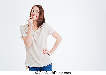 Happy charming young woman smiling and thinking - Happy...