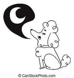 Cute Dog Howling to Moon - Vector illustration of a cartoon...