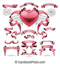 Vector set of valentines day banners