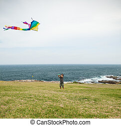 Child playing with a kite on a beac - boy playing with a...