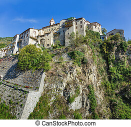 Mountain old village Luseram, Provence Alpes Cote d'Azur,...