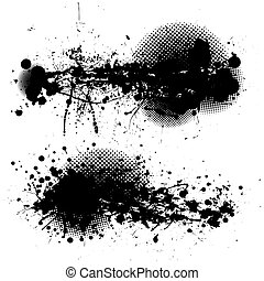 grunge ink splat pair