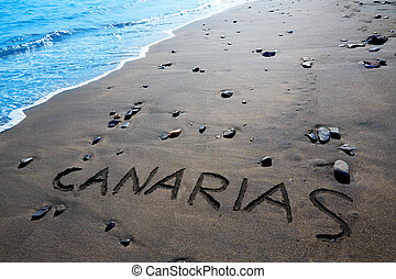 Canarias word written spell black sand Canary Islands -...