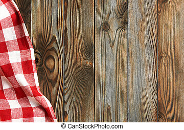 Textured wooden background with red tablecloth - Textured...