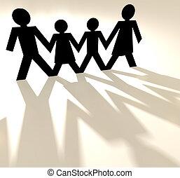 papel, Corrente, família, segurando, mãos