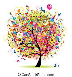 szczęśliwy, święto, zabawny, drzewo, balony