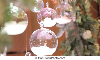 Glass decorative balls and green