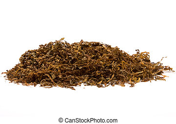 Tobacco - Pile of shredded cigarette Tobacco against white...