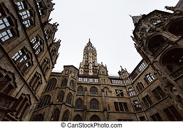 Courtyard of Cityhall - Courtyard of City hall in Munich at...