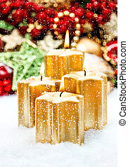 Advent decoration four burning candles Christmas background...