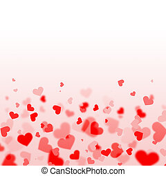 red and pink hearts background with copy space