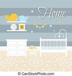 Nursery room with furniture. Baby interior. - Nursery room...