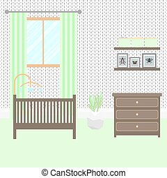 Nursery room with furniture Baby interior - Nursery room...