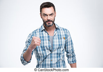 Man showing fist isolated on a white background