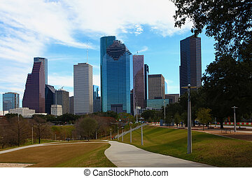 Wide view of the Houston, Texas skyline