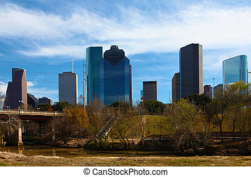 Houston skyline with bayou in front - The Houston skyline...