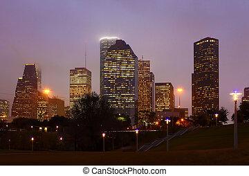 Houston, Texas skyline on a misty night
