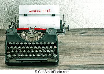 affär, begrepp, dagordning, vit,  2016, papper, skrivmaskin
