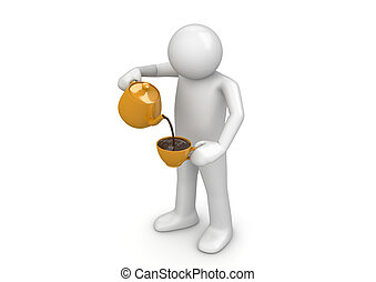 Man pouring cup - 3d isolated on white background characters...