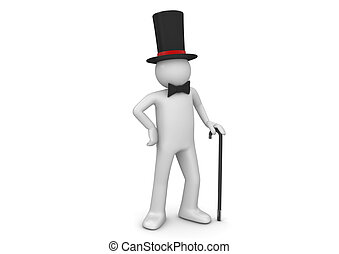 Gentleman / nobleman in top hat with walking stick - 3d...