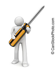 Man with crosshead screwdriver - 3d isolated on white...