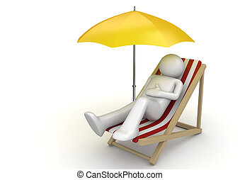 Man lying on a beach chair ynder umbrella - 3d isolated on...