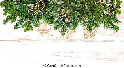 Christmas border with golden decorations. Winter holidays