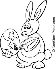 easter bunny coloring book - Black and White Cartoon...