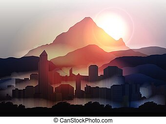 City Skyline at Sunset in the Mountains - Vector...