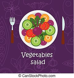 Fresh vegetables salad with olive oil on violet background