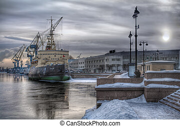 Old icebreaker at sea port - Old Soviet icebreaker Krasin...