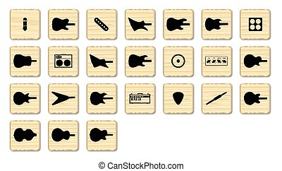 Guitar Wooden Pieces - A set of web icons in the style of...