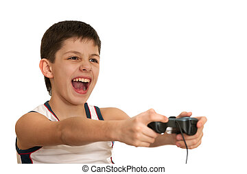 Ardor boy is playing a game with joystick - An ardor boy is...