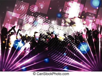 Party Crowd with Disco Spot Lights