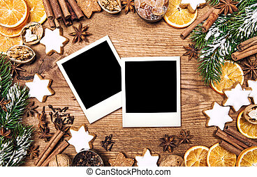 Christmas food background. Vintage style photo frames