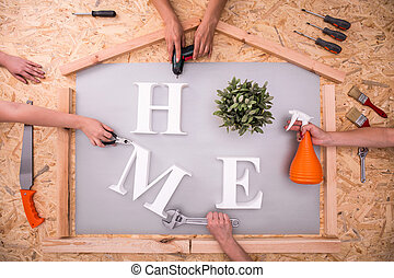 Home word on hardboard - Picture of home word on hardboard...