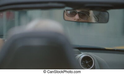 Beautiful blonde in the car - Beautiful blonde in sunglasses...