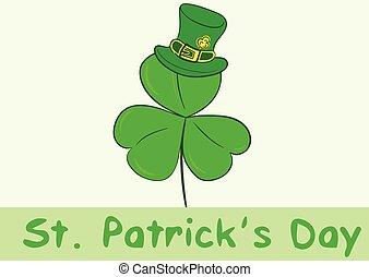 Shamrock in a hat - Green shamrock in a hat a St. Patrick's...