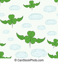 Seamless shamrocks in the sky - Seamless texture with the...