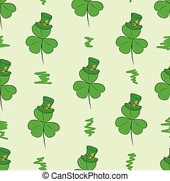 Seamless shamrock in a hat - Seamless texture with green...